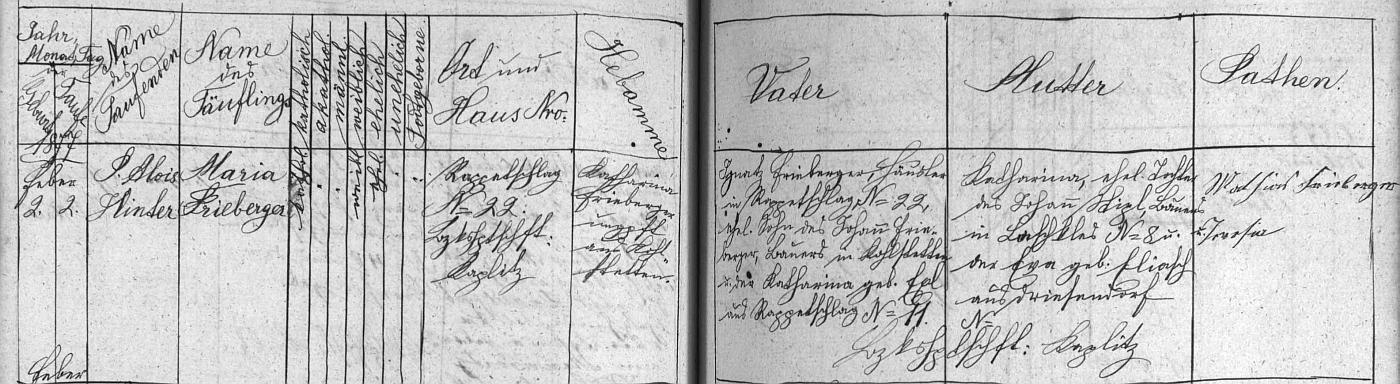 Záznam křestní matriky farní obce Terčí Ves o narození Marie Friebergerové, jejíž dcerou byla Quassova matka, ve dnes zaniklých Rapoticích (Rappetschlag) čp. 22