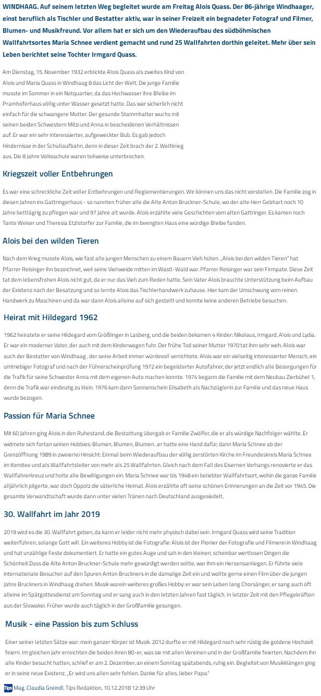 Nekrolog v rakouském regionálním tisku