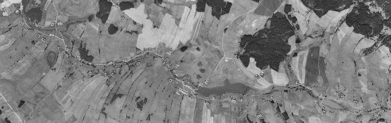 Rodná Tichá na leteckých snímcích z let 1952 a 2008