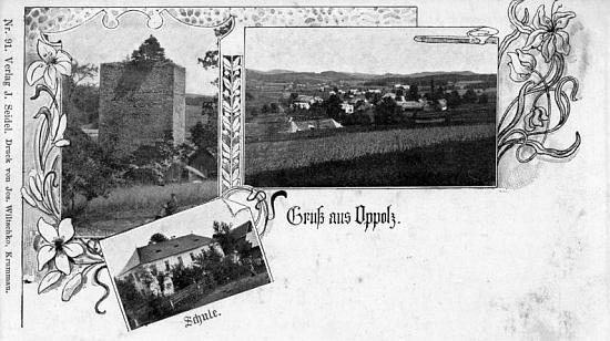 Autorem pohlednice rodné vsi, na níž je zachycena i někdejší německá škola, je Josef Seidel