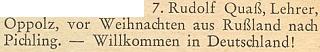 Zpráva o jeho návratu z Ruska před Vánocemi roku 1949 do německého Pichlingu