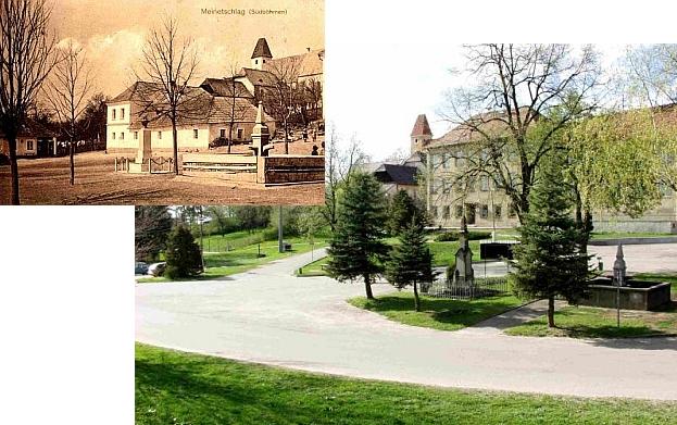 Památník padlých v Malontech dnes a náves, jak vypadala před rokem 1914 (viz i Aurelia Kranerwitterová)