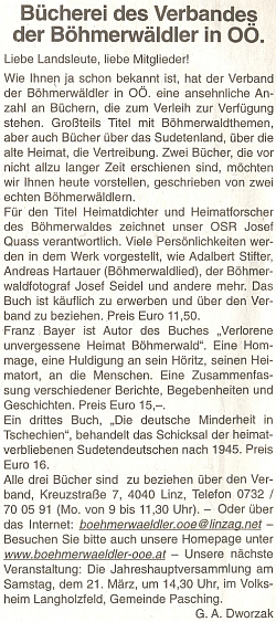 K vydání jeho knihy o šumavských osobnostech nastránkách rakouského krajanského listu - následuje i zmínka o nové knize Franze Bayera