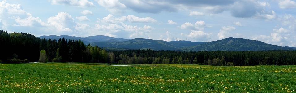 Pohled od Větrné k šumavskému hřebeni