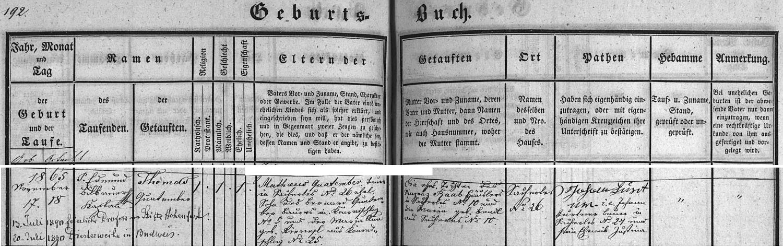 Záznam o jeho narození v křestní matrice Rychnova u Nových Hradů