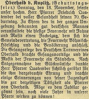"""Zpráva o jeho """"v plném zdraví"""" oslavených sedmdesátinách včeskobudějovickém německém listu"""