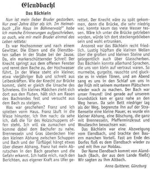"""Po smrti svého bratra vzpomněla úryvkem ze své knihy """"Ein Haus im Böhmerwald"""" toho, jak jí kdysi zachránil život"""