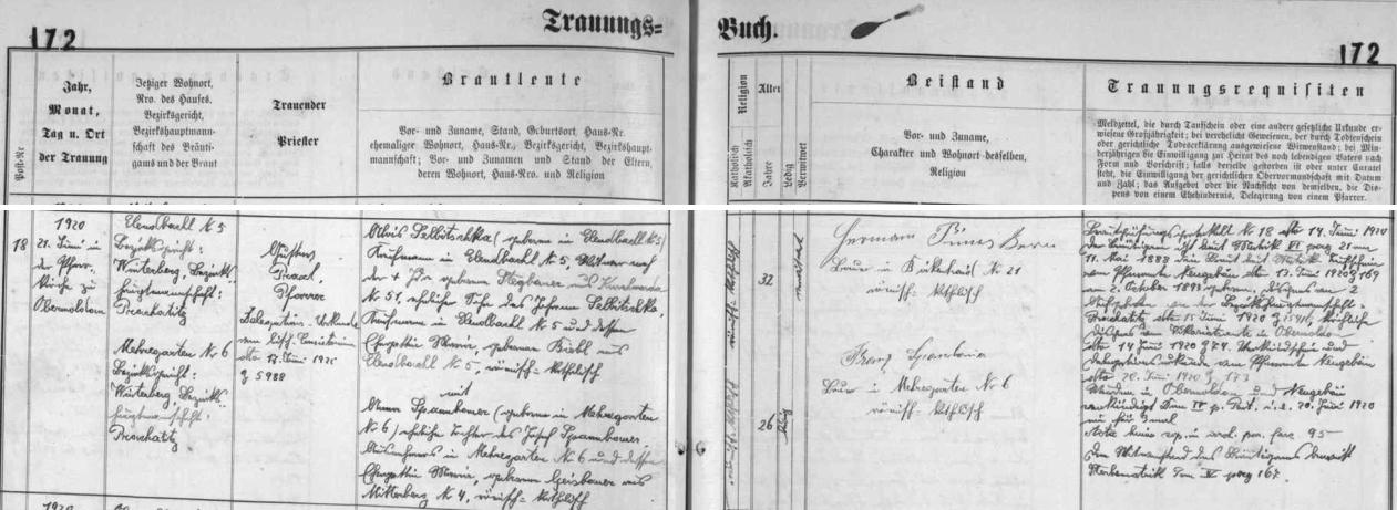 Obchodník v Polce čp. 5 Alois Selbitschka se podle záznamu v oddací matrice farní obce Horní Vltavice oženil 21. června 1920 s Annou, dcerou výminkáře Josefa Spannbauera ze Zahrádek (Mehregarten) čp. 6 a jeho ženy Marie, roz. Geisbauerové z Račí (Mitterberg) čp. 4 - ženichovi bylo 32, nevěstě 26 let
