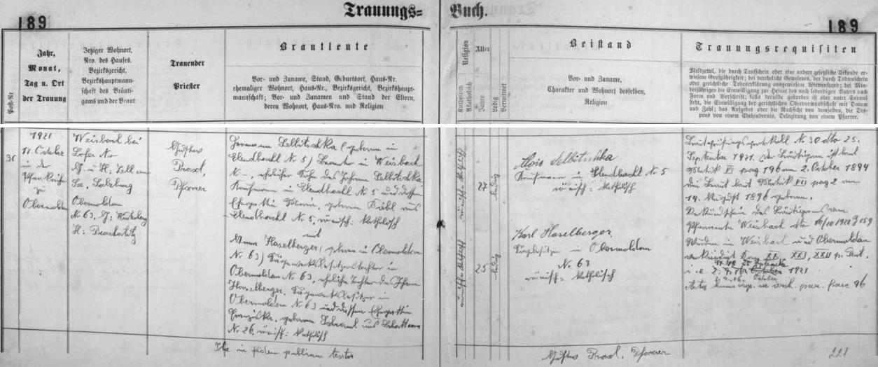Tady si podle zázmanu v oddací matrice farní obce Horní Vltavice 17. října 1921 vzal v tamním kostele Hermann Selbitschka, rodem z Polky čp. 5, úředník v rakouském Weisbachu, okres Salzburg, syn Johanna Selbitschky, obchodníka v Polce čp. 5, a jeho ženy Marie, roz. Bieblové z Polky čp. 5, za ženu Annu Haselbergerovou, dceru majitele pily v Horní Vltavici Johanna Haselbergera a jeho manželky Franzisky, roz. Schramlové ze Zátoně (Schattawa) čp. 26 - jako jeden ze svědků je podepsán Alois Selbitschka, obchodník v Polce čp. 5 - stále je o ten jeden jediný dům, který z Polky zůstal