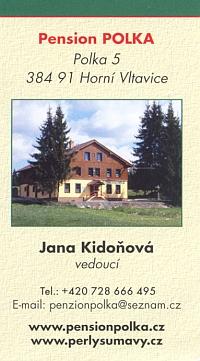Vizitka obnoveného penzionu v Polce ve vlastnictví JUDr. Františka Taliána podobně jako třeba hotel v Bučině