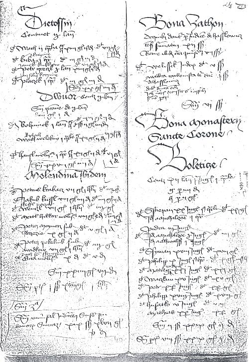 Strana z rožmberské pozemkové knihy datované rokem 1441 začíná vlevo nahoře místním jménem Qietossin