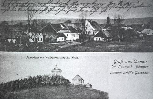 Hájek na staré pohlednici, zachycující i blízký Tanaberk