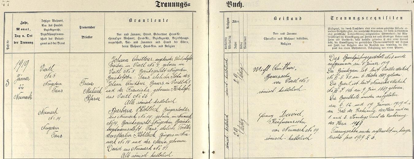 """Podle záznamu všerubské oddací matriky si ve zdejším kostele sv. Michaela archanděla dne 22. ledna roku 1919 Johann Quitterer, """"nadcházející majitel hospodářství"""" v Brůdku (zde """"Viertl"""") čp. 5, dne 6. října 1889 narozený syn dosavadního vlastníka téže usedlosti Johanna Quitterera a Franzisky, roz. Kelnhoferové z Brůdku čp. 26, bere za ženu """"měšťanskou dceru"""" ze Všerub Barbaru Kohlbeckovou, narozenou tu v domě čp. 14 9. června 1889 v rodině Martina Kohlbecka a Marie, roz. Davidové ze Všerub čp. 51 - svědky se stali selský syn z Brůdku čp. 5 Michl Quitterer a Franz David, syn obchodníka ze Všerub čp. 19"""