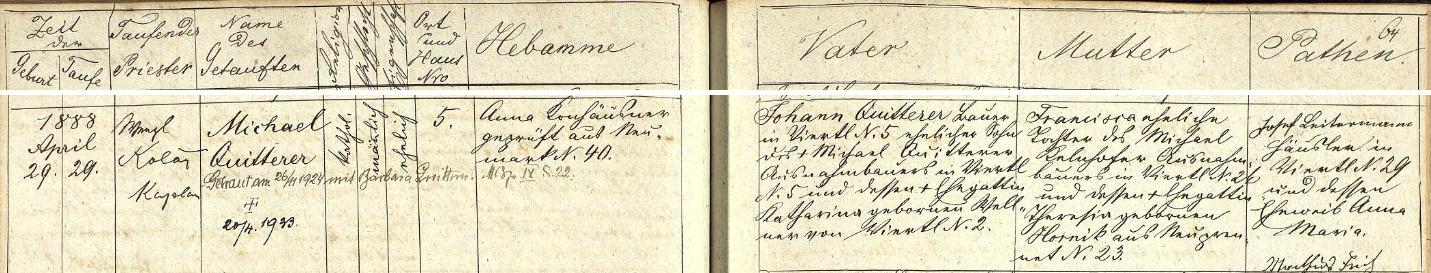 Záznam všerubské křestní matriky o narození Michaela Quitterera, selského syna z Brůdku č. 5 a budoucího svědka na bratrově svatbě - s přípisy o jeho svatbě vlastní v roce 1924 a také skonu v roce 1943