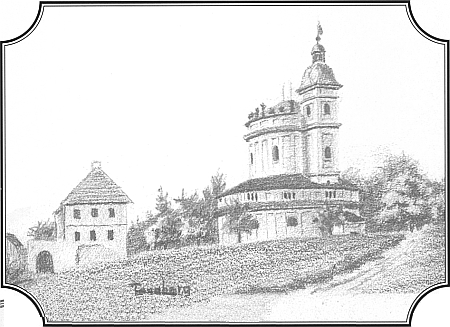 Tanaberk na tužkové kresbě, jejímž autorem je šumavský spisovatel Anton Schott