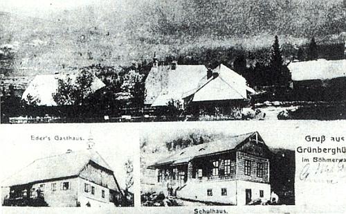 I osada Grünberghütte mívala svou pohlednici, zachycující místní hostinec a školu