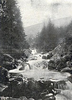 Sekerský vodopád na vzácném snímku Leo Richtera a tři Broncovy záběry Sekerského potoka z doby kolem roku 1900