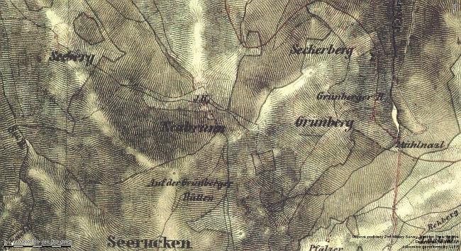Okolí Nové Studnice a Zelené Hory na mapě z poloviny 19. století