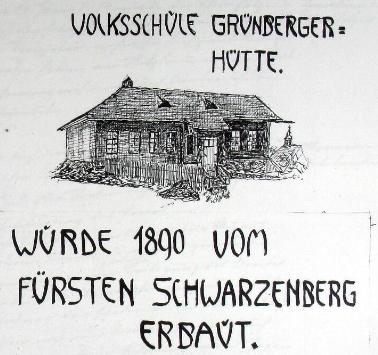 Roku 1890 dal kníže Schwarzenberg v Zelenohorské Hutí postavit školu, kterou tu zobrazuje kresba z kroniky obce Prášily