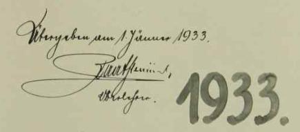 Takto se podepsal do račínské školní kroniky při svém odchodu nazdravotní dovolenou 1. ledna 1933