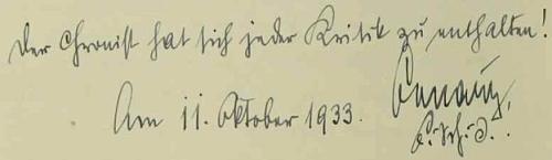 Datovaná poznámka školního inspektora Emila Benatzkyho k Raabovu kritickému zápisu v kronice