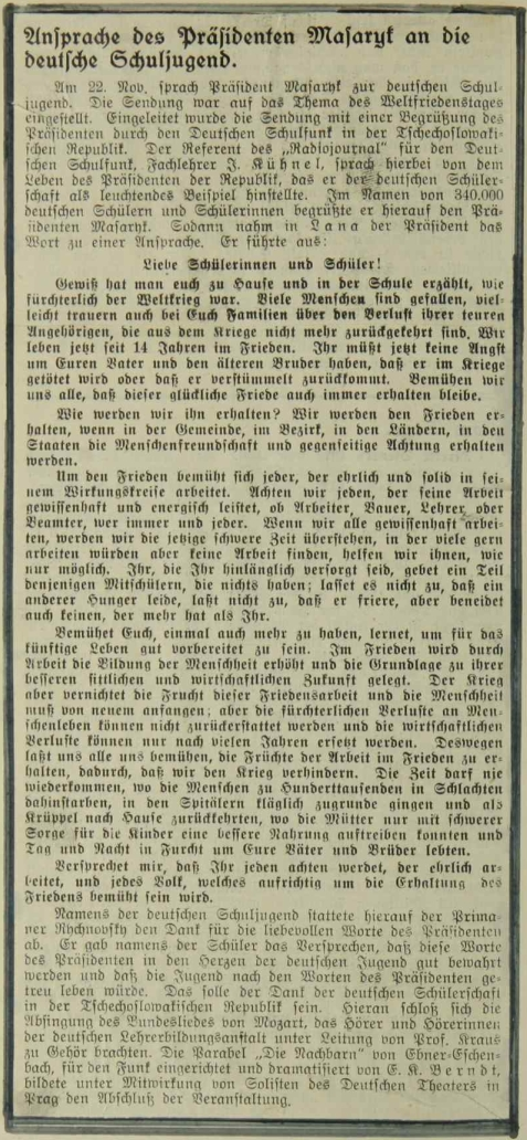 Otisk promluvy prezidenta Masaryka k německé školní mládeži, jak se zachoval na výstřižku vlepeném do školní kroniky obce Pernek