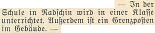 O škole v Račíně se tu na stránkách krajanského časopisu objevuje v březnu 1951 zpráva, že se tu vyučuje v jedné třídě a v budově sídlí i pohraniční stráž