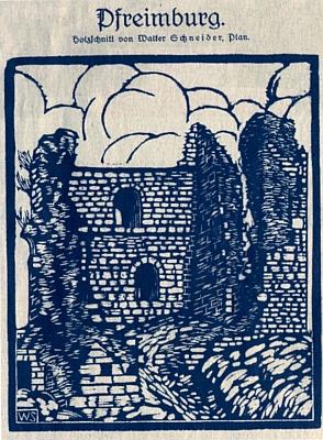 Dřevoryt Waltera Schneidera z Plané aRachbauerova báseň v secesním rámu přisvém prvém otištění