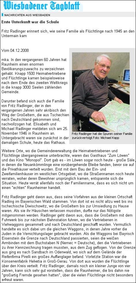 Článek z deníku Wiesbadener Tagblatt líčí příchod vyhnanců do tehdy třítisícového města Raunheim, které má dnes téměř pětkrát tolik obyvatel