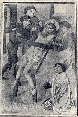 Jiný Seidelův snímek z této knihy zpodobuje utrpení sv. Šimona, dole vpravo donátor obrazu farář Pils