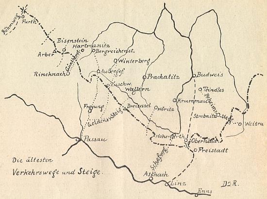 Dvě jím signované mapky, zachycující nejstarší šumavské dopravní stezky a spojnice a také osídlení jižních Čech hrabaty z Bogenu, Vítkovci, jakož i kláštery zlatokorunským (Goldenkron) a kapitulou vyšehradskou (Kollegiatstift /Kloster/Wyschehrad)