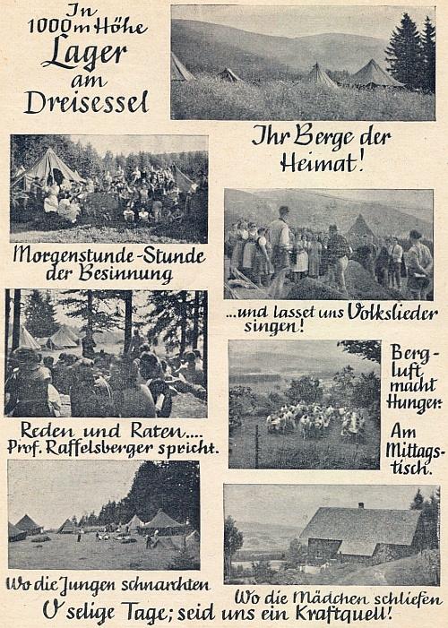 O letním táboře šumavské německé mládeže na hoře Třístoličník v roce 1949 s jeho promluvou na jednom ze snímků