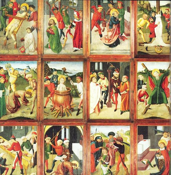 Deskové obrazy z oltáře 12 Svatých apoštolů kájovského faráře Michaela Pilse, vzniklé mezi lety 1480-1490