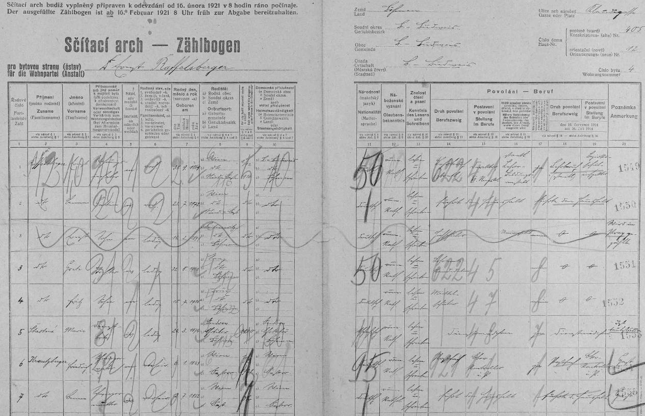 Arch sčítání lidu pro dům čp. 12 v českobudějovické Lannově třídě s jeho rodinou, českou služkou Marií Šťastnou ataké tchánem a tchyní
