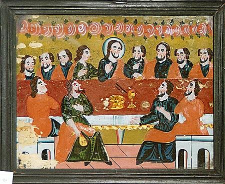 Šumavské podmalby na skle z druhé poloviny 19. století (Poslední večeře Páně a sv. Florián)