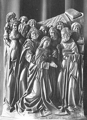 "Vyšebrodská Smrt Panny Marie na snímku z jeho knihy ""Der Kunstbesitz des Böhmerwaldes und seines südböhmischen Vorlandes"" (1973)"