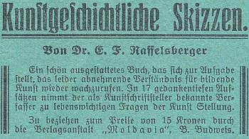 Inzerát (1932) na jinou jeho knihu v časopise Waldheimat