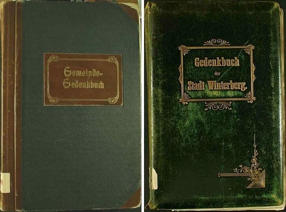 Obálky dvou pamětních knih města Vimperka, které vedl v letech 1922-1943 s velikou důkladností