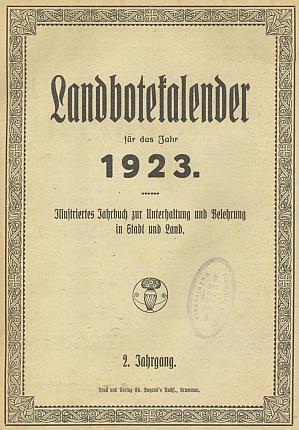 Záhlaví jeho ročního přehledu v šumavském kalendáři křesťansko-sociálního listu Landbote na rok 1923