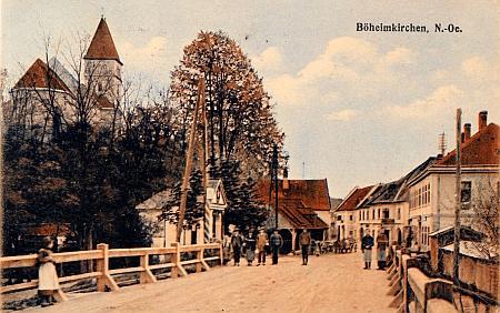 Obec Böheimkirchenu Sankt Pölten, kde žil a provozoval živnost před odchodem do Čech, na staré pohlednici