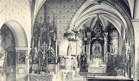 Na snímku vnitřku vimperského děkanského kostela z přelomu 19.a 20. století jsou vidět i obě Quastova okna
