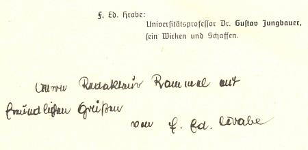 Tady mu Franz Eduard Hrabe věnuje svou práci o Dr. Gustavu Jungbauerovi