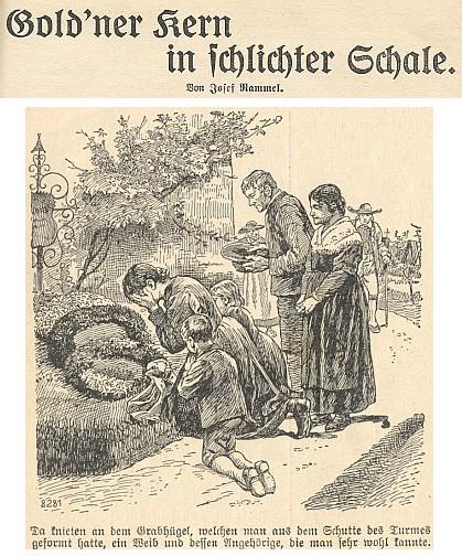 Odřená obálka jednoho z vimperských kalendářů a záhlaví jeho povídky v něm i s jednou z ilustrací