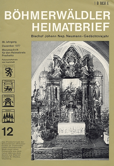 Vánoční úprava hlavního oltáře děkanského kostela na snímku zroku 1904 figuruje tu na obálce prosincového čísla krajanského měsíčníku