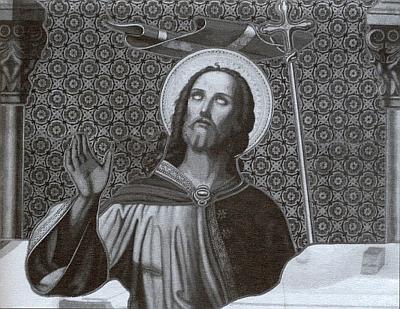 Postava Krista na jednom z oken, podrobeném v roce 2003 poprvé od své instalace restaurátorskému zásahu
