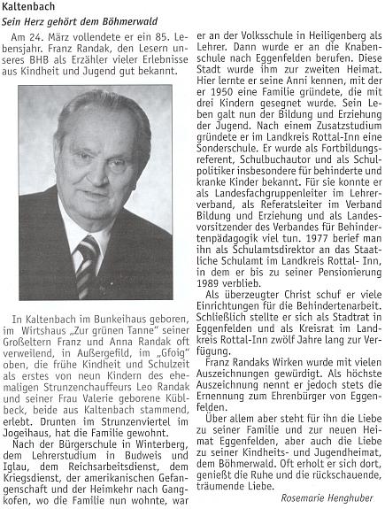 Článek k jeho 85. narozeninám na stránkách krajanského měsíčníku