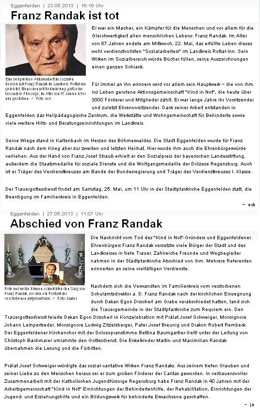 Nekrolog a zpráva o posledním rozloučení v regionálním dolnobavorském tisku