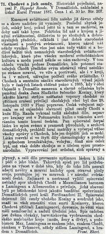 """Recenze Františka Ekerta na Randovu knihu """"Chodové a jejich osudy"""" v Časopise katolického duchovenstva z roku 1888"""