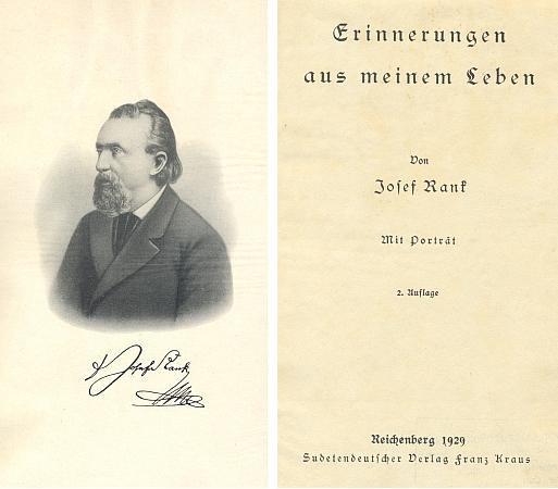 Frontispis a titulní list druhého vydání jeho pamětí v libereckém nakladatelství Franz Kraus (1929)