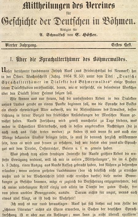 """Titul a úvod polemického článku význačného znalce severočeských německých nářečí Ignaze Peterse (Petterse), který se tu v textu psaném v Litoměřicích 24. dubna roku 1865 nechvalně vyjadřuje oRankových jazykovědných """"šumavských"""" exkurzech"""